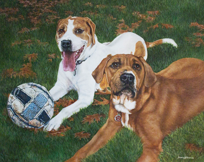 Acrylic Painting of Pit Bull buddies  by Donna Bobrowski.