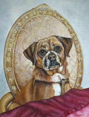 Acrylic Painting of a pug by Donna Bobrowski.