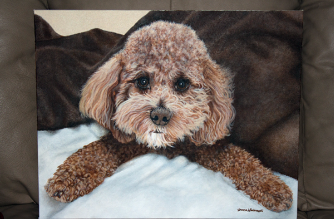 Acrylic Painting  by Donna Bobrowski of a special poodle.