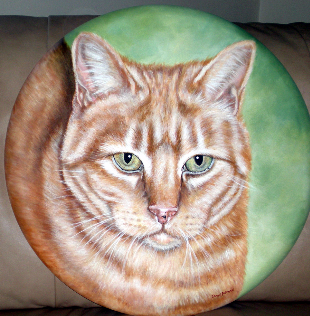 Acrylic Cat Painting by Donna Bobrowski.